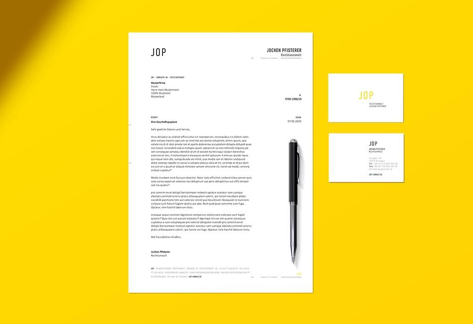 Neue Werbemittel für den Rechtsanwalt Jochen Pfisterer